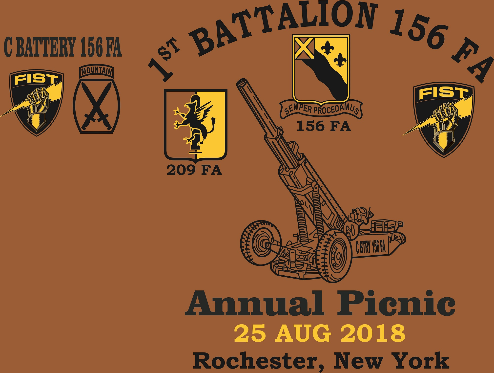 C BTRY 156 FA ANNUAL PICNIC 2018 (002) logo and screen print